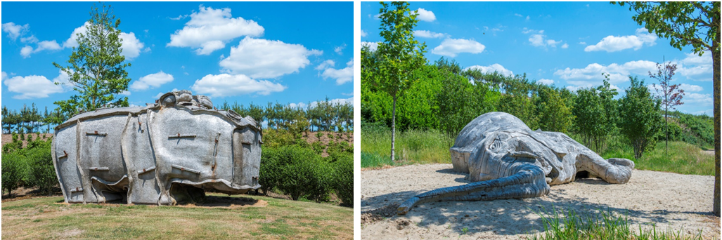 Left: Tom Claassen (1964, NL) Hippomal, 2005, polyester, steel; Right: Kevin van Braak (1975, NL), Elephant, 2015, teak wood, ca. 850 x 350 x 140 cm