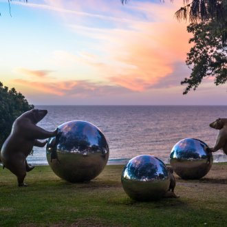 Tae Geun Yang, Rolling The Earth, Sculpture by the Sea, Cottesloe 2019 ©Clyde Yee