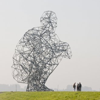 Land Art Flevoland, Antony Gormley, Exposure, 2010, galvanized steel, concrete, 26 m, photo: Jordi Huisman